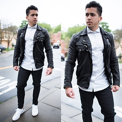 Marcos De andrade -  - Leather Jacket and Destroyed jeans