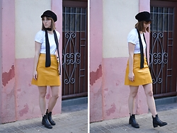 Isabelle Hardy - Zara Yellow Leather Skirt - Yellow Skirt and Baker Boy