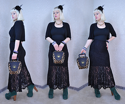 Suzi West - Joann Fabrics Flower & Feather Hair Clip, Rocket Studio Art Abstract Earrings, Xhilaration Bolero, Xhilaration Tank Top, Holly Gordon's Pro Wardrobe Bracelets, Monteau Lace Maxi Skirt, Accoutrements Bowling Bag Purse, Jeffrey Campbell Shoes Lita Boots - 12 March 2016