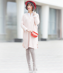 Galant-Girl Ellena - Asos Jumper Dress, Stuart Weitzman Suede Over The Knee Boots, Chloé Cross Body Bag - Blush...