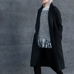 Leonie // www.noanoir.com - Cos Classic Long Black Coat, Whistles Black & White Fringed Top - Fringed