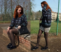 Charlotte Cocopop - Vintage Sweater, New Look Skirt, Pull & Bear Shoes, Primark Purse - Never surrender