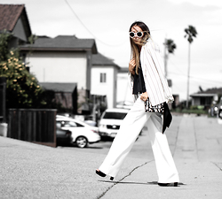 Queen Horsfall - Tobi Palazzo Pants, Tobi Low Tank Top, Eva Mendes, Talbots Stripe Blazer, Asos, Queenhorsfall - White and Black Lines