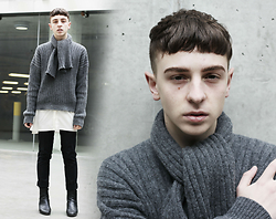 Paul Conrad Schneider - J.W.Anderson Sweater, Oak And Fort Button Up, Topman Trousers, Topshop Boots - RIP the pompadour