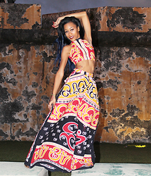 Tye W. - Greenwear Designs Crop Top, Greenwear Designs Maxi Skirt - Puertorican Style