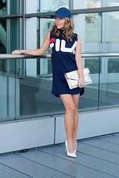 Amber Wilkerson - Fila Dress, Bloomingdales Bag, Steve Madden Pumps - FILA