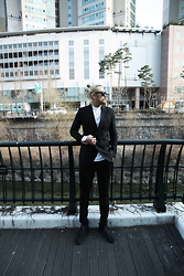 INWON LEE - Byther Black Blazers, Black Slacks Pants - Urban Casual Chic Black Classy Neat Suit Fashion