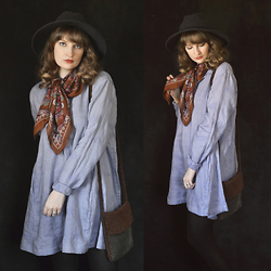 Anna C. - Cp Shades Chambray Tunic Dress, Thrifted Vintage Paisley Scarf, Asos Felt Hat, Thrifted Macrame Suede Bag - Chambray