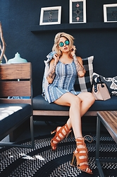 Misty Mason - Yhf Los Angeles Blueschist Tortoise Sunglasses, One Clothing Dress (Similar Style), Public Desire Annelise Heeled Sandals - Late Brunch Game