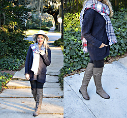 Jennifer Therese - Old Navy Plaid Reversal Scarf, Alloy Knee High Boots, Forever 21 Wool Fedora, American Eagle Outfitters Ripped Denim - Reversal.
