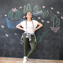 Karen Cardiel - H&M White Crop Top, Zara Plaid Shirt, Olive Green Leggings, White Simulation Sneakers, Silver Sunglasses - Go sit on a cactus
