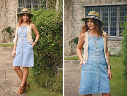 Elena Sandor - Monsoon Hat, Topshop Dress, Zara Waistcoat, Kurt Geiger Heels - The countryside denim
