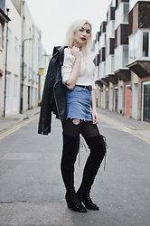 Sapphire Needham - Urban Outfitters Open Back Top, Bdg Denim Mini Skirt, Dolly Rocka Lace Up Thigh High Boots, Topshop Leather Jacket - Biker Chic