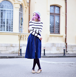 Evelyn Moon - Whistles Denim Skirt, Asos Golden Oxford Shoes, Pull & Bear Striped Sweater - How To Wear Stripes