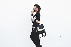 Kylie Rodriguez - Divided By H&M Black Top, Hba Black Jogger Pants, Jukaykay Black And White Backpack - Deadly