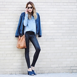 Lauren G. - Boohoo Denim Bomber Jacket, Abercrombie & Fitch Chambray Lace Up Tunic, J Brand Maria High Rise Leather Jeans, Vince Camuto Jevan Blue Suede Mules, Petit Sesame Fringe Bucket Bag, Oliver People's West Hobson Sunglasses - Denim Duo