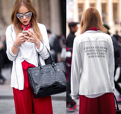 Silver Girl - Wildfox Couture White Pajamas, Quay White Marble Sunglasses, Asos Oversized T Shirt, Zara Red Culottes, Giorgio Armani Black Handbag, Urban Outfitters Red Bandana - PFW LOOK #8