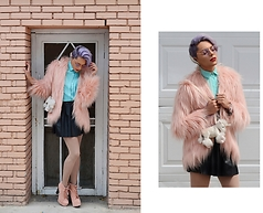 Fersen Alexander Caraveo Rivera - Nasty Gal Fairy Floss Faux Fur Coat, Jeffrey Campbell Shoes Pink Rock, H&M Black Faux Leather Circle Skirt, Manic Panic Virgin Snow - Fairy Floss Faux Fur Coat