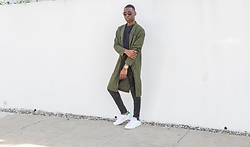 Willie Sparks - Urban Outfitters Kimono, Urban Outfitters Black Shirt, J Brand Leather Pants, Adidas Sneakers - Leather Weather