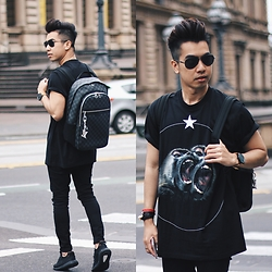 Austin Levine - Givenchy Shirt, Louis Vuitton Backpack - LV Givenchy | instagram: @officialtinno