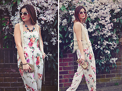 Elena Sandor - In Love With Fashion Jumpsuit, Zara Vest, Next Clutch, Happiness Boutique Necklace, Pierre Cardin Sunglasses - Flower power
