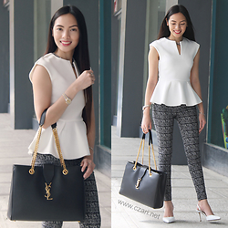 Czari Denise - Zalora White Peplum Top, Dorothy Perkins Black And White Printed Pants, Charles And Keith White Heels Shoes, Ysl Black Shopper Bag - My first corporate look