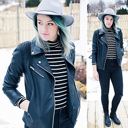 Becki Peckham - Joe Fresh Leather Jacket, Joe Fresh Black Snd White Stripe Turtleneck, Gap Ripped Black Denim - 11