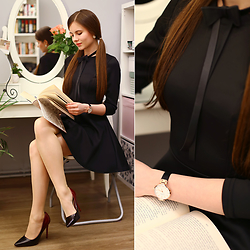 Ariadna M. - Black Dress, Ombre Shoes, Watch, Black Bowtie - Black