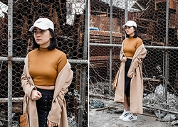 Carla Florendo - Commonwealth Cap, Forever 21 Top, Lash Lace Up Skirt, Forever 21 Camel Coat, Adidas Superstar - Blend in or stand out
