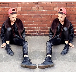 Karan S - Dr. Martens Boots, Zara Joggers, Vintage Coat - LEATHER on a winters day