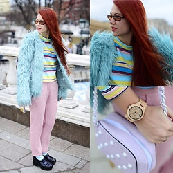 Jenny Danilkova - Oodji Fur Jacket, Zara Pants, Jord Watch Watches, Kira Plastinina Bag - Candy land