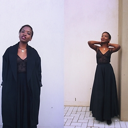 Tina Booboo Tshangela - H&M Black Coat, Thrifted Lacey Black Top, Thrifted 70s Black Skirt - Black Sunday
