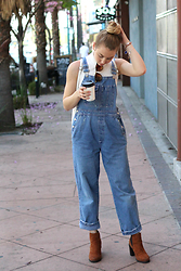 Jordana Lilly - H&M Chelsea Boot, Thrifted Vintage Overalls, Alex & Ani Charm Bracelets - Coffee With Some Overalls