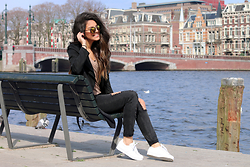 Stephanie Abu-Sbeih - Coat, Woodzee Sunglasses, Adidas Sneakers, Jeans - AM-STER-DAM