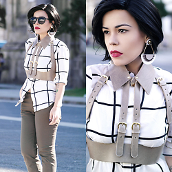 Priscila Diniz - Plaid Top, Pants, Harness, Earrings -  something bold
