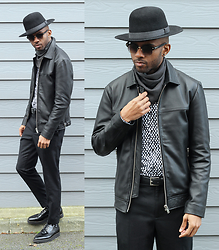 Martell Campbell - D'lyle Treasure Black Hat, Black Eyewear Sunglasses, Reiss Leather Jacket, Reiss Polkadot Shirt, Carlo Pazolini Shoes - Black On Black