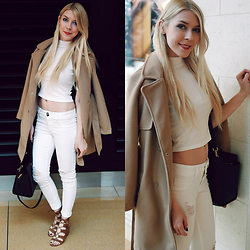 Zuzana - Romwe Crop Top, Romwe Camel Coat, Cello Jeans White Distressed Denim, Michael Kors Handbag Selma, Dolce Vita Laceup Wedges - White & Camel