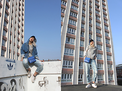 Candy Rosie - Les Expatriés Jacket, Cameron Kham Jumper, Moschino Bag, Monki Jeans, No Name Sneakers - BLUE DENIM