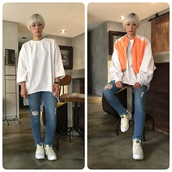 Joyce Chang - Pushbutton Orange Jacket, Reebok White Trainers - Bright color day