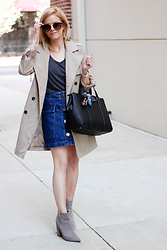 Kim Tuttle - Forever 21 Ankle Boot, Topshop Denim Skirt, H&M Trench, Kate Spade Bag, Hermès Twilly, Aldo Sunglasses, Nanette Lepore Rose Gold Watch - Everything old is new again