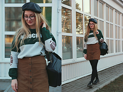 ♡Anita Kurkach♡ - Sheinside Sweatshirt, Sheinside Skirt, Sheinside Bag, Dr. Martens Shoes - SCHOOL GIRL!