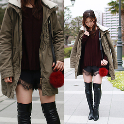 Mizuho K - Sheinside Black Elastic Waist Contrast Lace Shorts, Choies Black Pu Wedge Over The Knee Boots, Xoxohilamee More Details On - 2016/03/20
