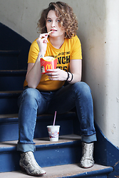 Lila G - Zara French Fries Yellow Top, Zara Blue Straight Jeans, Sam Edelman Python Boots - French Fries, Coke & Python.