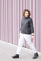 Lila G - River Island Grey Boxy Sweater, Zara White Pants, Choies Black Cut Out Boots - The Quest.
