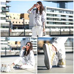 Jasmin Kessler - Adidas Pullover, About You Gold Adidas Superstars, Justfab Bag - White Harbour Lights by MINAMIA