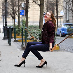 Eugenia Bulah - Dolce & Gabbana Wool Pants, Zara Court Suede Heels, H&M Trend Leather Bomber Jacket - Smile. It's Spring!