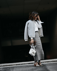 Diana Z Wang - Brochu Walker Shirt, Missguided Jacket, Brochu Walker Knit Skirt, Maison Martin Margiela Sandals, Proenza Schouler Bag, Burberry Gloves - Luxe Basics