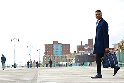 Igee Okafor - Ben Sherman Navy Overcoat, Ben Sherman Messenger Bag, H&M Trousers, Jack Erwin Penny Loafers - Blending: Detailed Articles of Clothing
