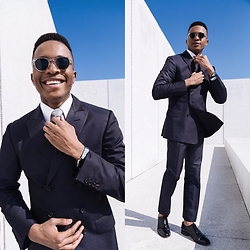 Igee Okafor - Warby Parker Sunglasses, League Of Rebels Tie, Valentino Suit, Cole Haan Wingtips - Going Sockless on a Double Breasted Suit