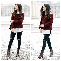 Merna Mariella -  - Burgundy sweater & ripped jeans